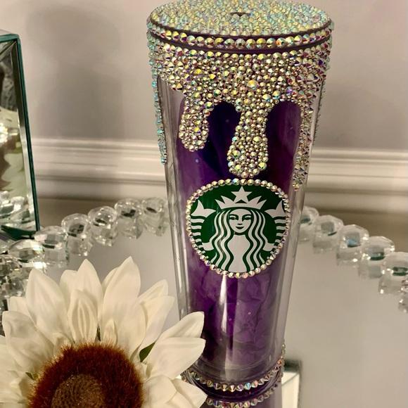 Starbucks Tumbler Dripping Effect studded Bling